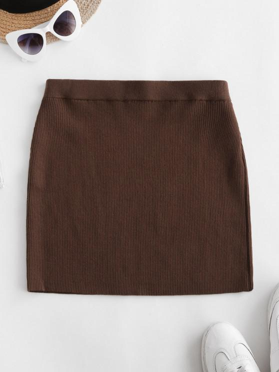 women's Ribbed Knit Slinky Bodycon Skirt - DEEP COFFEE L