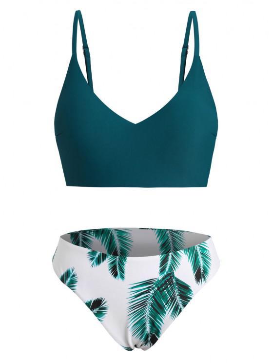 ZAFUL Plus Size Leaf Print Full Coverage Bikini Swimwear - ديب غرين XL