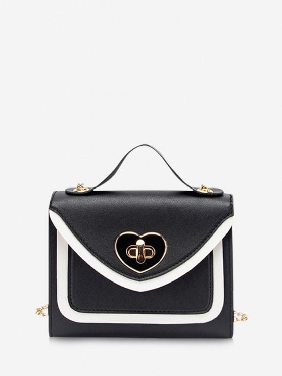 Bolsa de mão com couro estampado - Preto