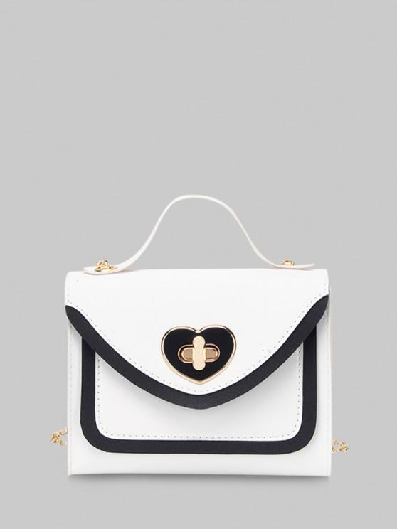 Farbblock Herzform Haspe Handtasche - Weiß