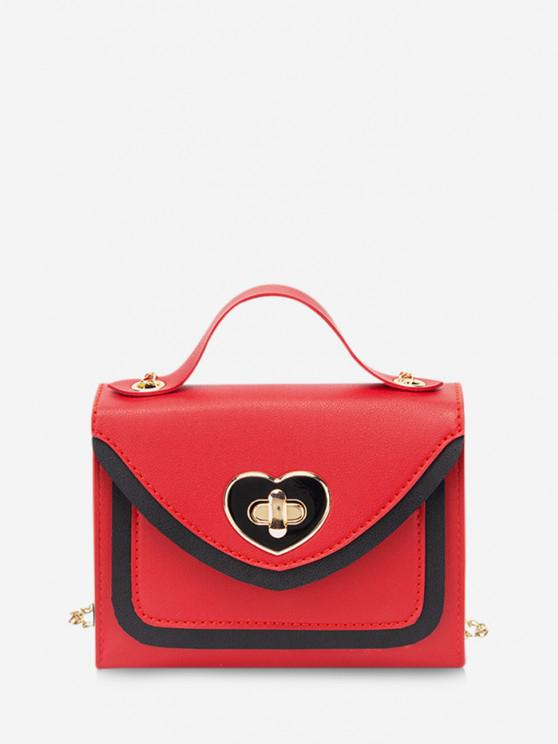 fancy Colorblock Heart Shape Hasp Handbag - RED