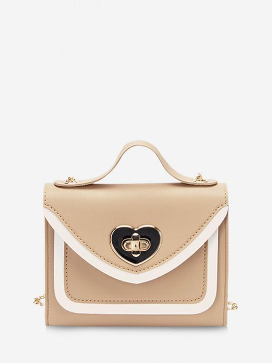 unique Colorblock Heart Shape Hasp Handbag - CAMEL BROWN