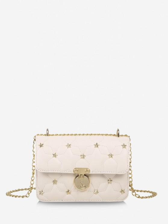 best Star Pattern Quilted Crossbody Bag - CRYSTAL CREAM