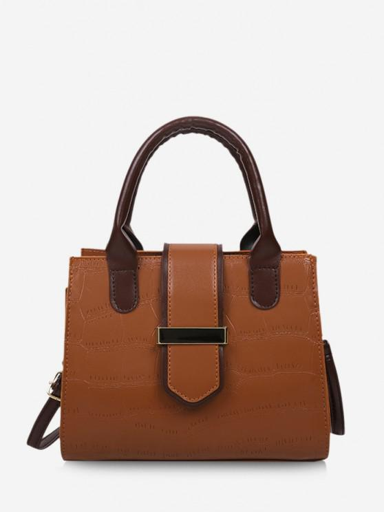 buy Stone Grain Color Block Buckle Strap Tote Bag - LIGHT BROWN