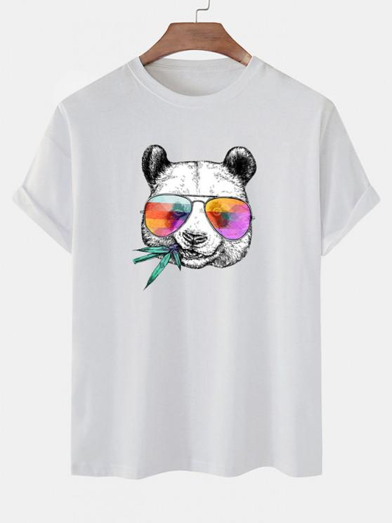 women's Cool Panda With Glasses Print Basic T-shirt - WHITE XL