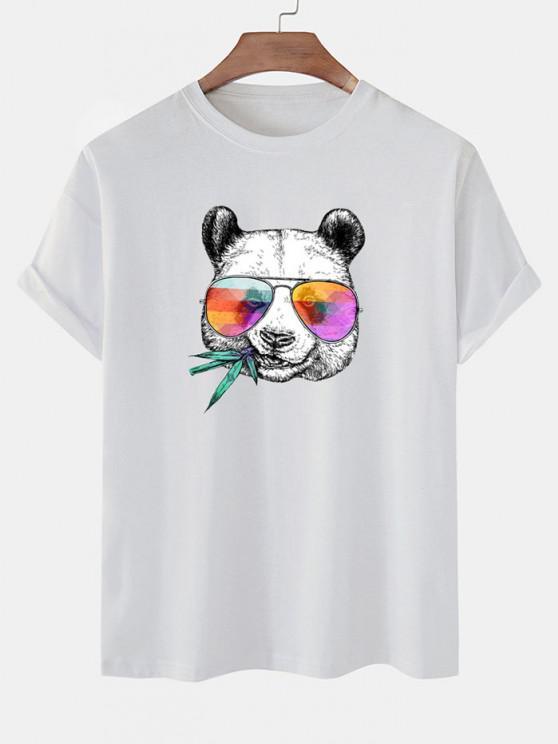 Cool Panda With Glasses Print Basic T-shirt - أبيض M