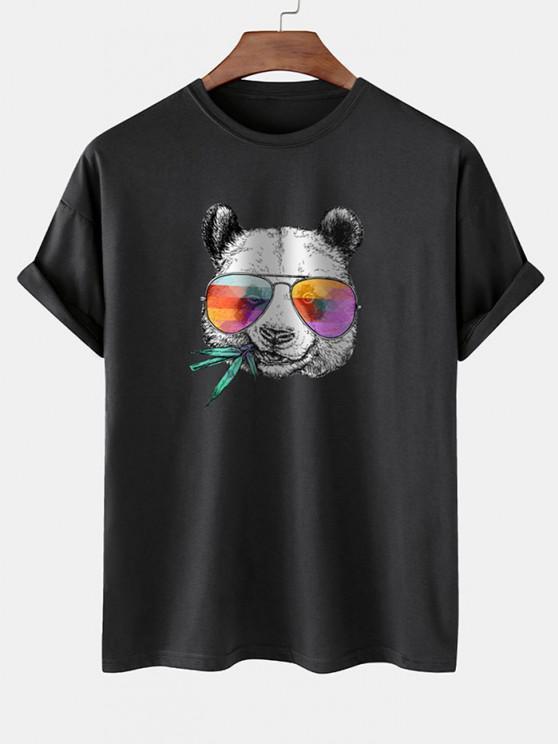 Cool Panda With Glasses Print Basic T-shirt - أسود L