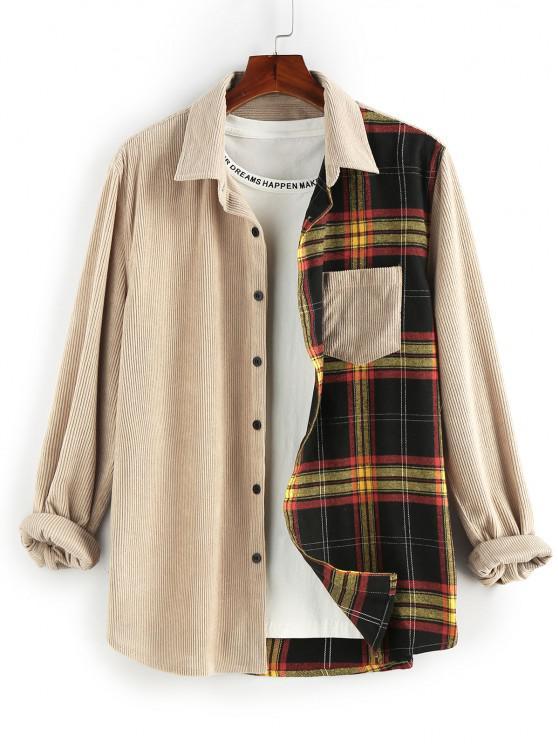 buy ZAFUL Plaid Panel Button Up Corduroy Shirt - LIGHT COFFEE S
