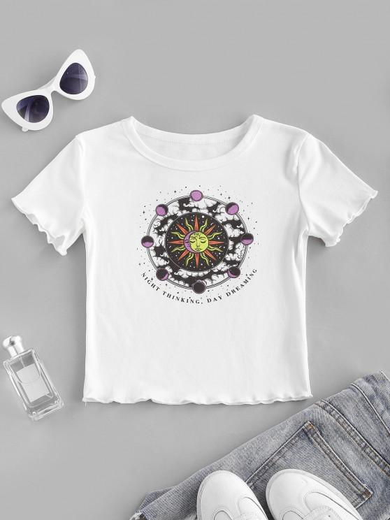 ladies Sun and Moon Letter Print Crop Tee - WHITE S