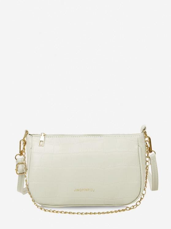 fancy Stone Grain Buckle Strap Chain Convertible Bag - CRYSTAL CREAM