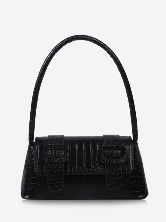 Textured Buckles Embellished Handbag - أسود