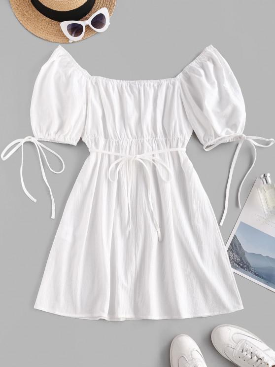 Gebundenes Puff Ärmel Milkmaid Minikleid - Weiß XS