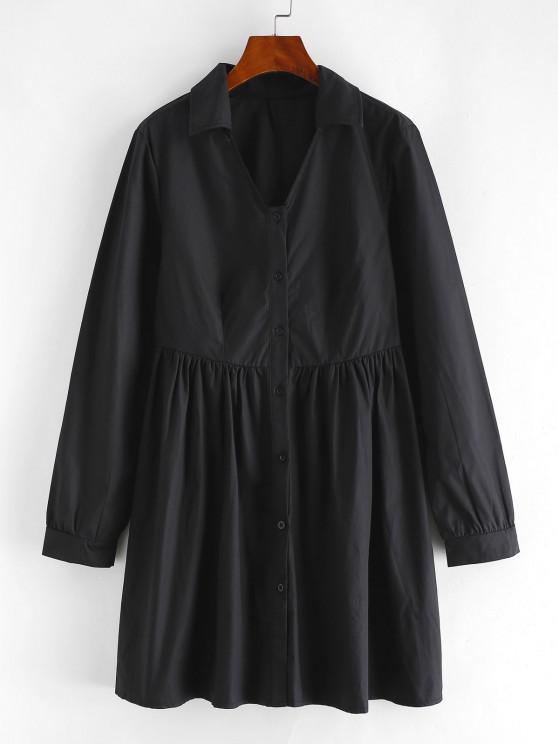 Vestido flare de mangas compridas na altura do joelho - Preto L