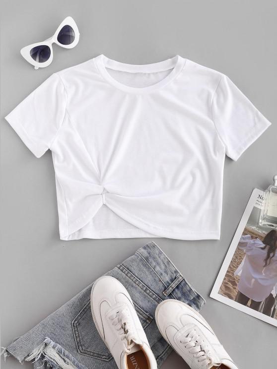 Camiseta Mangas Curtas com Enrolado Cortado - Branco S