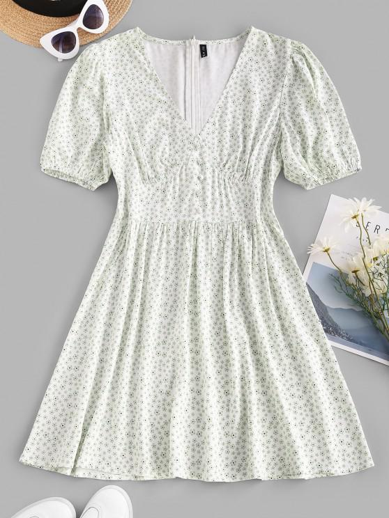 trendy Puff Sleeve Ditsy Floral Buttoned Mini Dress - WHITE XS