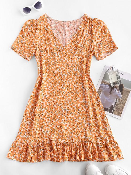 Ditsy Print Flounced Hem Dress - برتقالي قاتم L