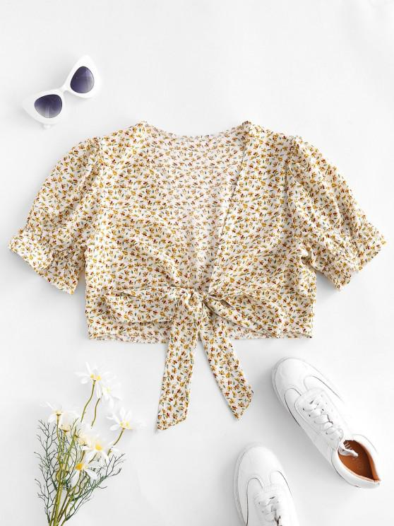 online Ditsy Print Puff Sleeve Tie Front Blouse - LIGHT YELLOW M
