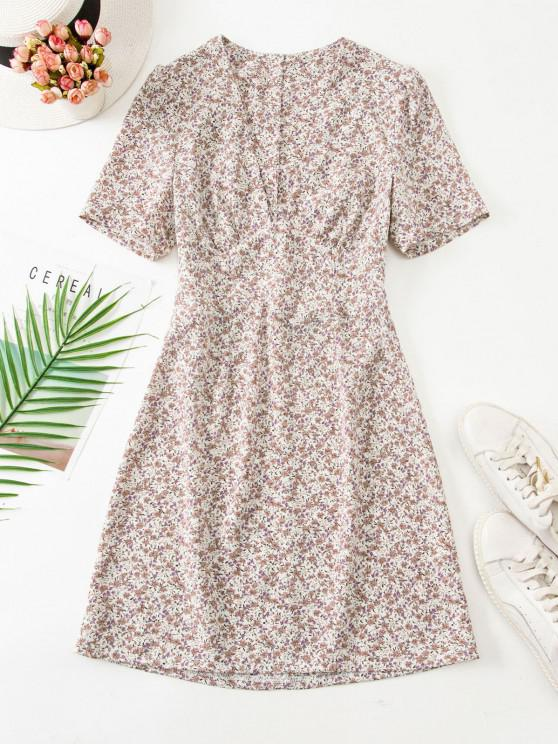 shops Ruched Empire Waist Ditsy Floral Mini Dress - LIGHT COFFEE L