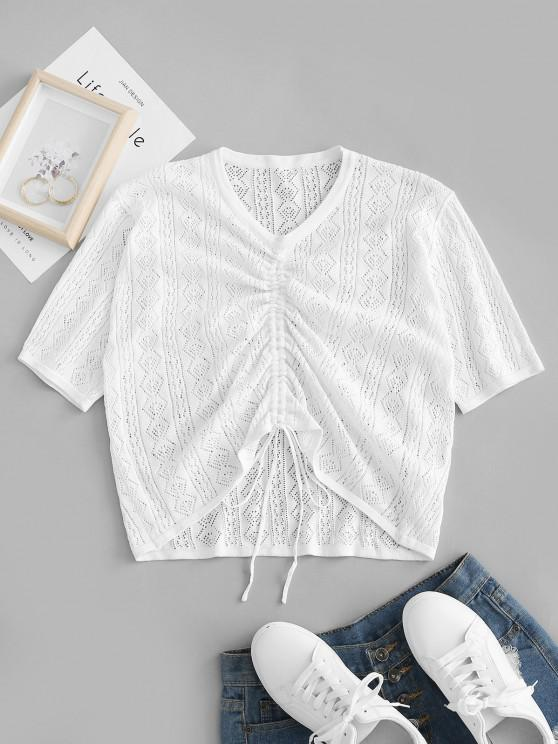 outfit ZAFUL Plus Size Pointelle Knit Cinched Ruched Knitwear - WHITE L