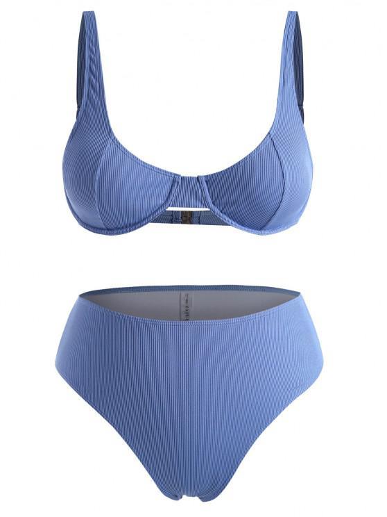 best ZAFUL Plus Size Underwire Ribbed High Waist Bikini Set - BLUE XXXL