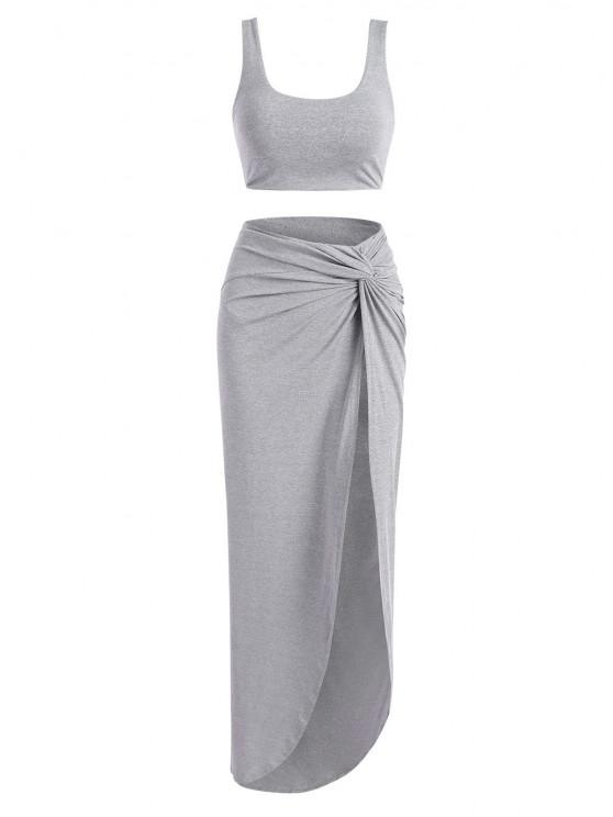 unique Marled Tank Top and Twist High Slit Skirt Set - GRAY S