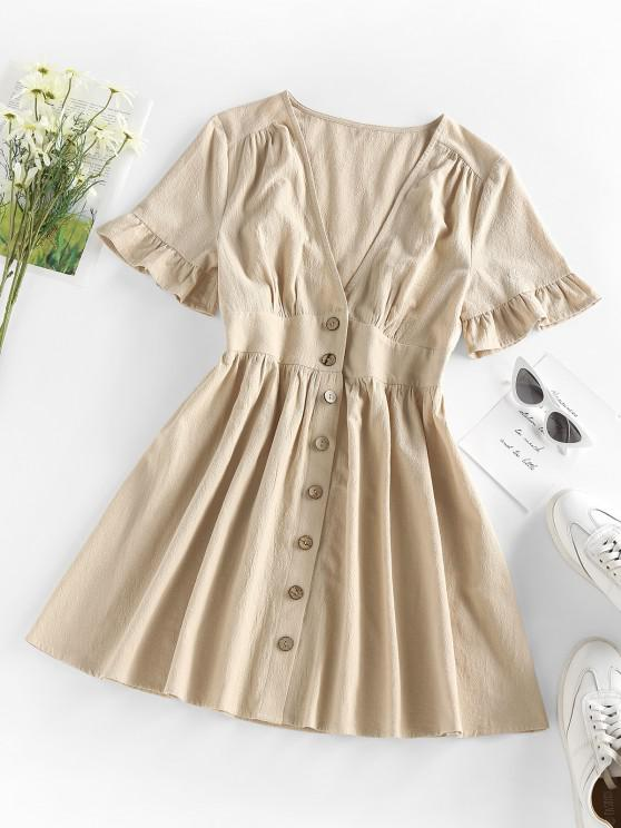 outfits ZAFUL Button Front Plunge Ruffle A Line Dress - LIGHT COFFEE S