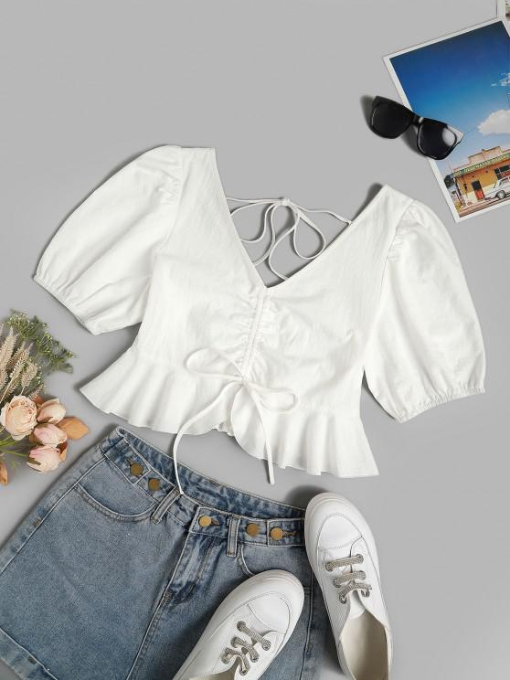 outfit ZAFUL Lace Up Zipper Back Off The Shoulder Blouse - WHITE S