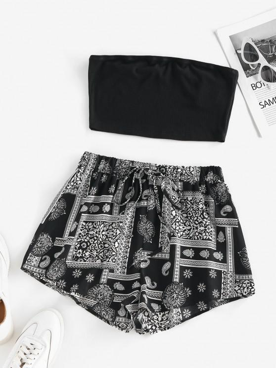 trendy ZAFUL Bohemian Flower Ribbed Bandeau Shorts Set - BLACK S