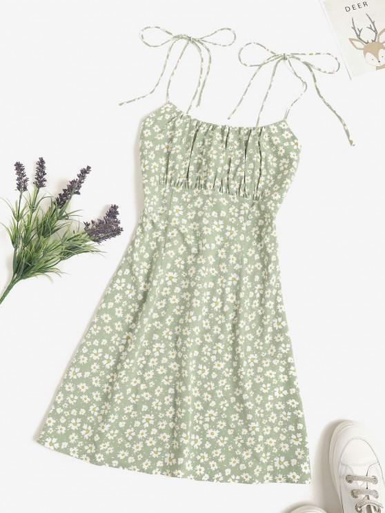 buy ZAFUL Ditsy Floral Tie Strap Cami Ruched Dress - LIGHT GREEN L