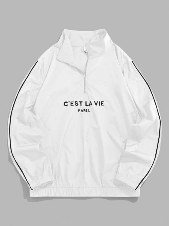 ZAFUL Letter Embroidered Quarter Zip Sweatshirt - أبيض L
