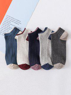 5 Pairs Colorblock Ankle Socks - Multi