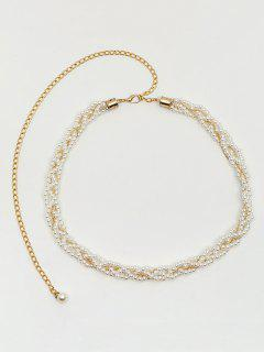 Faux Pearl Dress Waist Chain - Milk White