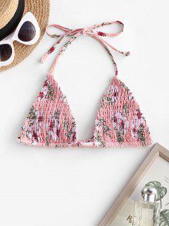 ZAFUL Halter Plant Print Smocked Bikini Top - Light Pink L