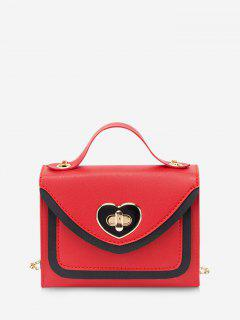 Colorblock Heart Shape Hasp Handbag - Red