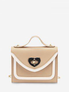 Colorblock Heart Shape Hasp Handbag - Camel Brown