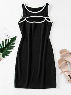 Cutout Binding Bodycon Tank Dress - Black L