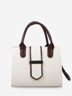 Stone Grain Color Block Buckle Strap Tote Bag - Crystal Cream