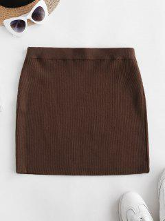 Ribbed Knit Slinky Bodycon Skirt - Deep Coffee S