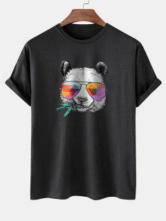 Cool Panda With Glasses Print Basic T-shirt - Black M