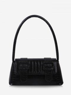 Textured Buckles Embellished Handbag - Black