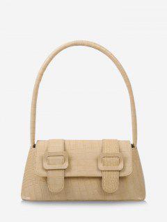 Textured Buckles Embellished Handbag - Goldenrod