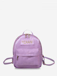Letter Pattern Chain Strap Backpack - Mauve