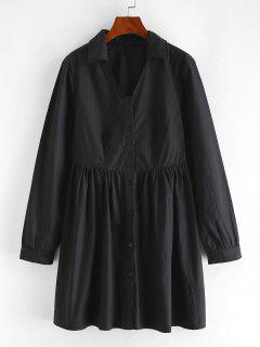 Pleated Detail A Line Shirt Dress - Black L