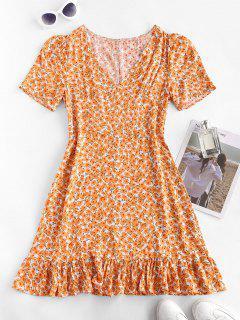 Ditsy Print Flounced Hem Dress - Dark Orange L