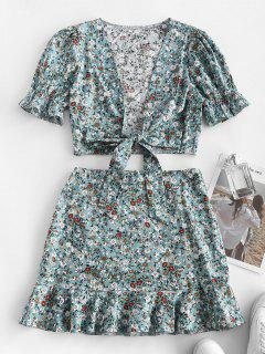 Ditsy Print Tie Front Top And Ruffle Skirt Top - Light Blue S