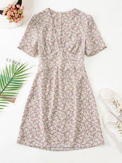 Ruched Empire Waist Ditsy Floral Mini Dress - Light Coffee L