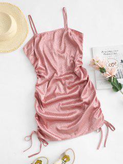 ZAFUL Side Cinched Ruched Satin Leopard Slinky Dress - Light Pink 2xl