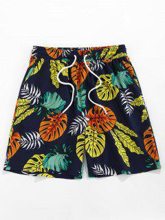 ZAFUL Tropical Leaves Print Beach Shorts - Deep Blue L
