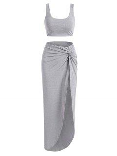 Marled Tank Top And Twist High Slit Skirt Set - Gray Xl