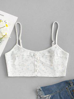 ZAFUL Buttoned Ditsy Floral Cropped Cami Top - Light Blue S